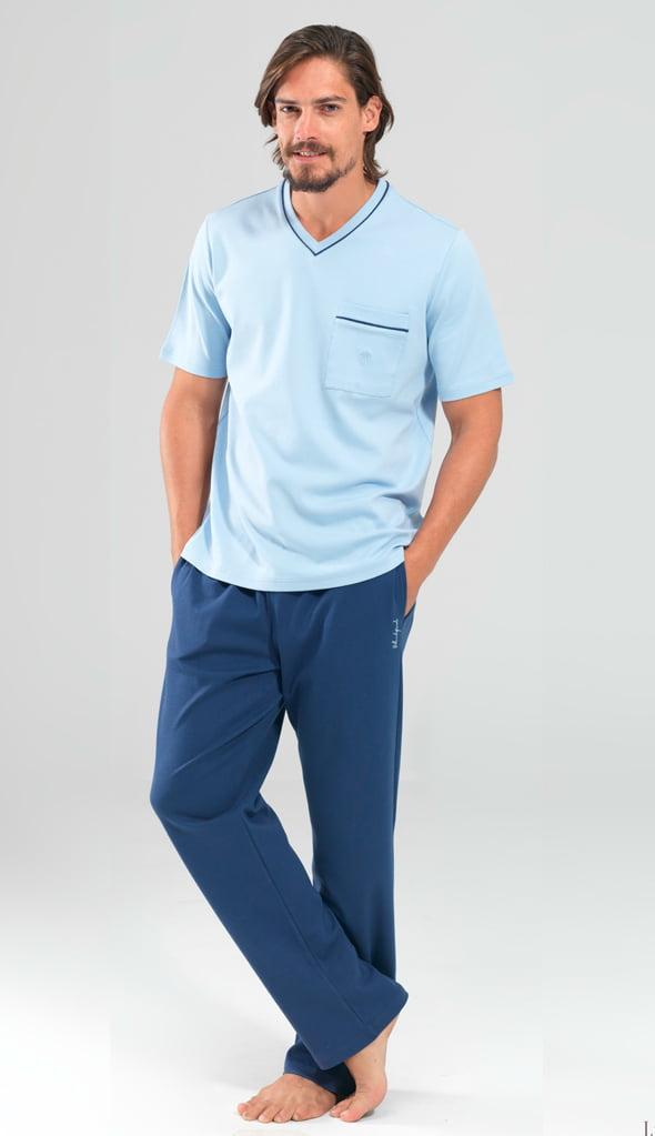 Летний брючный мужской комплект для отдыха из хлопка синего цвета с принтом (футболка, брюки) BlackSpade b7342