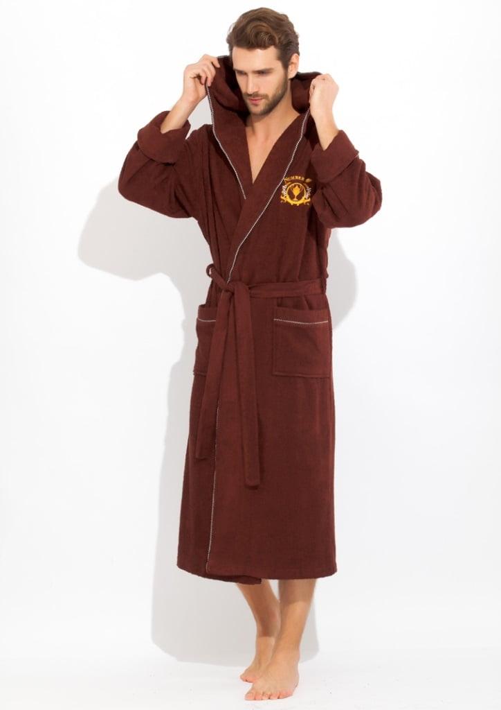 Коричневый спортивный мужской халат класса Люкс из бамбука со стильным принтом PECHE MONNAIE 919 коричневый