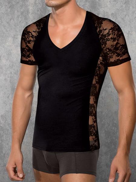 Стильная и оригинальная черная мужская футболка с рукавами и боковыми вставками из эластичного кружева Doreanse Black Lace 2552c01