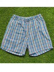 3cf9e0f00919 Удобные домашние мужские шорты из хлопка в голубую клетку на резинке с  двумя боковыми карманами и