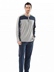 65b6f3b81358 Мужская пижама из хлопка и полиэстра Turen LT4110 Turen серый с синим