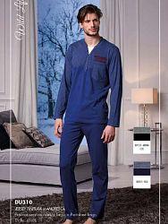 5eacd9f508f0 Мужская пижама с длинным рукавом из 100% хлопка Cotonella DU310 синий (blu)