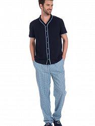 9c9d6dcce1f9 Стильный мужской домашний комплект (рубашка+брюки) темно-синего цвета в  клетку PECHE MONNAIE №24 Темно-синий 2231/1